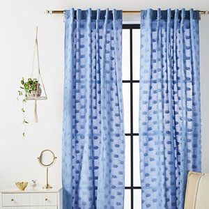 Anthropologie Blue Fringe/Spotted Curtains